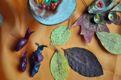 Creating a Seasonal Nature Table / making shapes with beeswax / make creatures with wax, roving, a little felt.