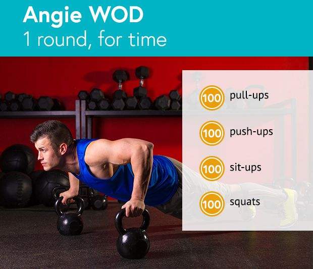 This WOD may only be one round, but it may be the hardest round of your life: 100 reps of 4 exercises. #Angie #WOD #CrossFit