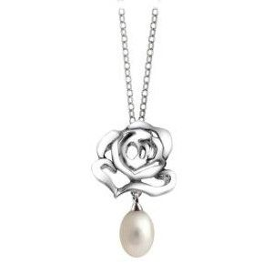 Silver Rose with Pearl Drop Pendant by Fei Liu