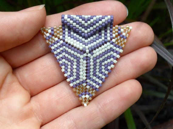 Lavender and yellow Celtic triple-spiral triangle pendant by Classify, $20.00 #seedbead #beadwork #beadweaving