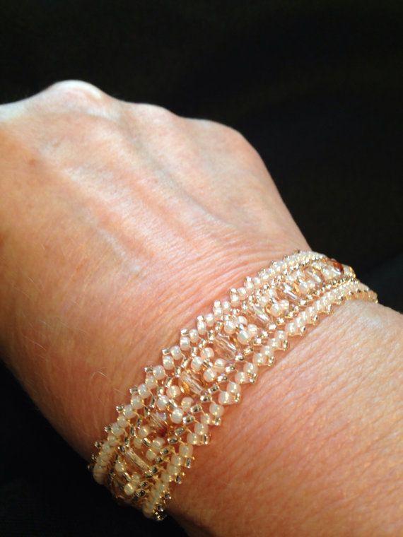 Pink sparkle herringbone stitch beaded band by BeadALittleDream