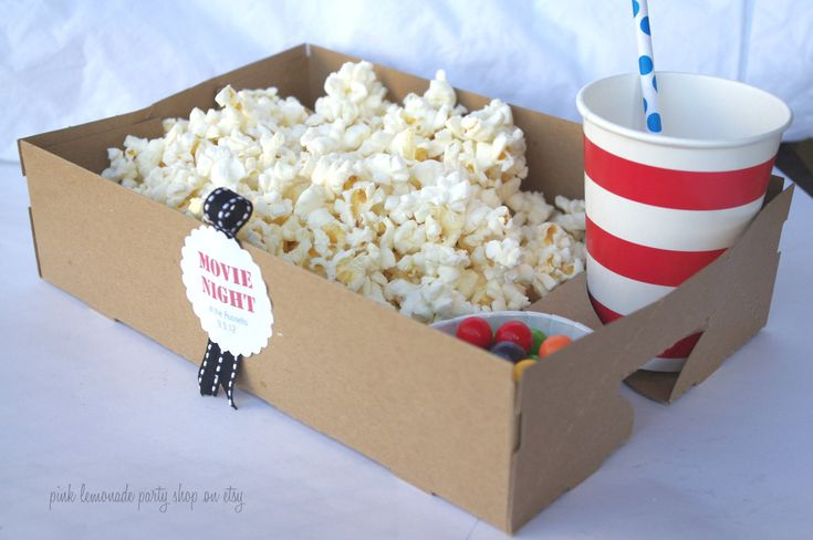 kraft food tray with drink and snack holder: set of 10 for $10...how fun for a kids party or movie night!  {Etsy}