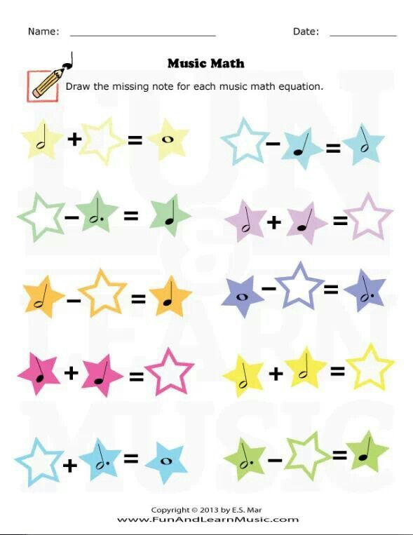 Fun music math worksheet for beginners. : Piano Lessons ...