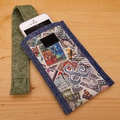 Pouzdro na mobil s filcovými aplikacemi