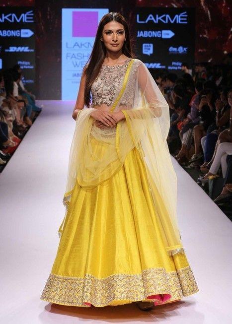 Yellow designer wear make to order Indian lengha choli in ...
