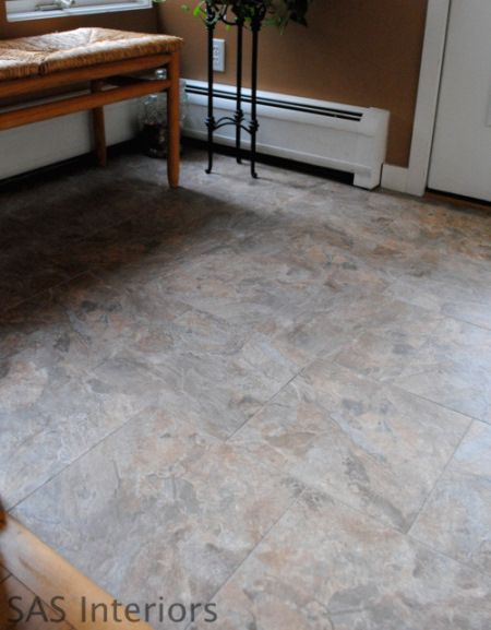 Did you know that you can grout peel and stick vinyl tiles for Vinyl flooring that looks like tile