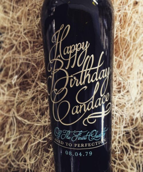 Awesome Birthday Gift Personalized Etched And Handpainted Bottle Of Wine Get