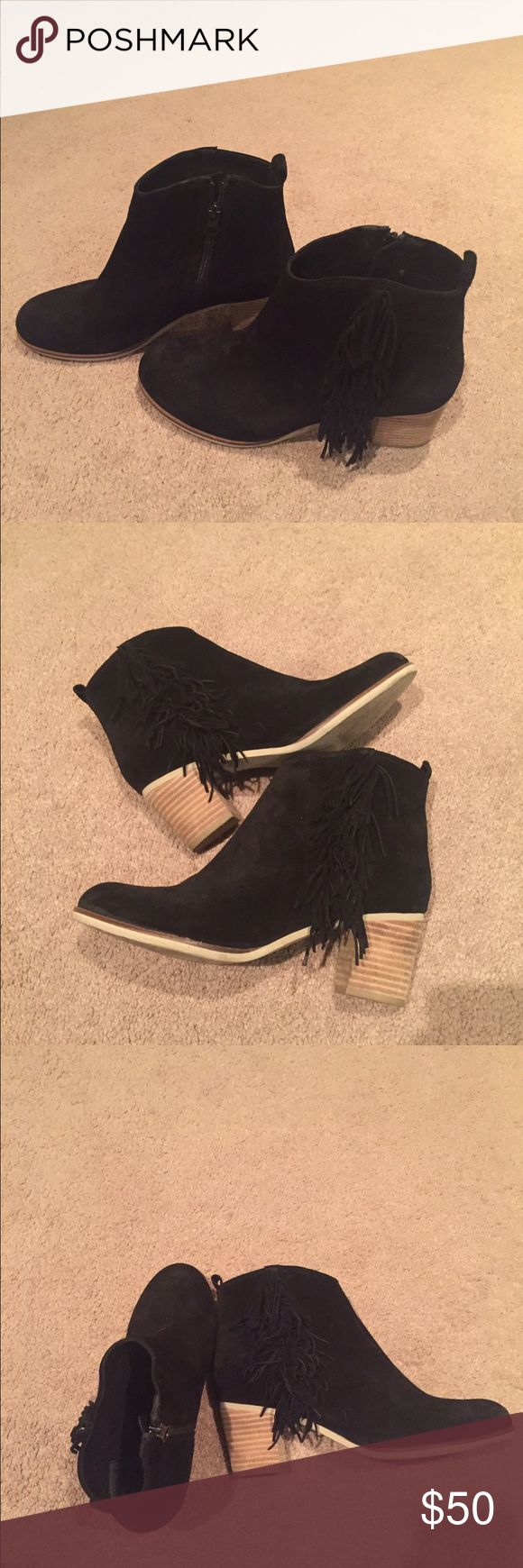 Matisse black fringe ankle boot Matisse black fringe ankle boot--these are such a staple shoe. Worn only twice! Like new :) heel height is about 2 inches. Matisse Shoes Ankle Boots & Booties