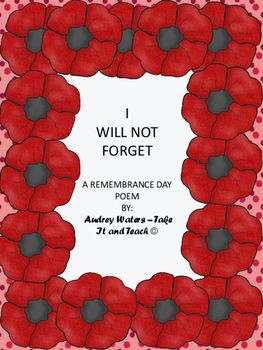 This Remembrance Day Poem would be suitable for Grades 2-4 and could be used at a Remembrance Day ceremony in your school or community.  It is a simple, 5 stanza poem which could be presented by an individual or a group.  It is not specific to Canada so could be used elsewhere on November 11th or on Memorial Day.