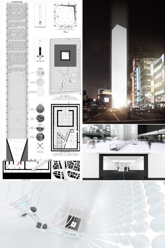 """"""" TOKYO VERTICAL CEMETERY """" - Tokyo Vertical Cemetery competition finalist"""