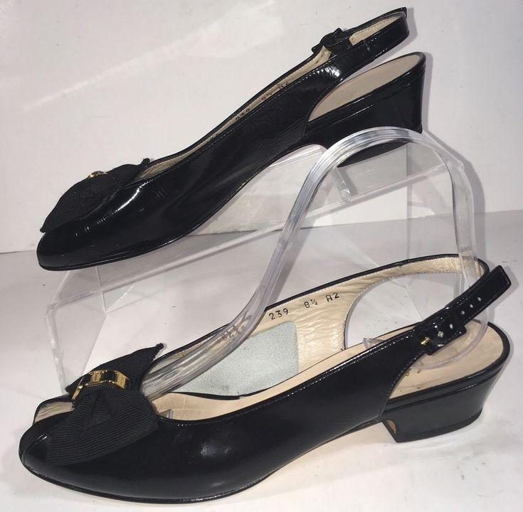 Salvatore Ferragamo Size 8.5 Classic Low Heel Bow Patent Leather Slingback Shoes #SalvatoreFerragamo #Slingbacks #WeartoWork