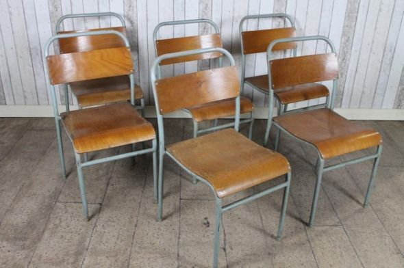 VINTAGE INDUSTRIAL RETRO STACKING SCHOOL CHAIRS ORIGINAL OLD CHAIRS LONDON