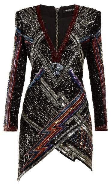 2098241b Balmain - Lightening Bolt Split Hem Sequined Mini Dress - Womens - Black  Multi