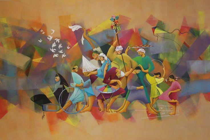 """بيتنا ونلعب بيه 71"""" in 45"""" x Oil on canvas Artist Firas Albasry"""