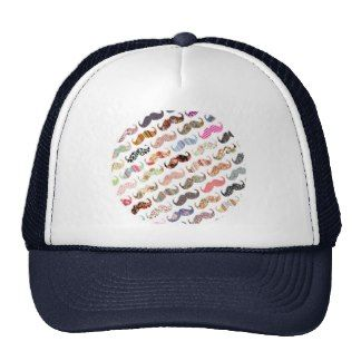 Funny Girly  Colorful Patterns Mustaches Hat