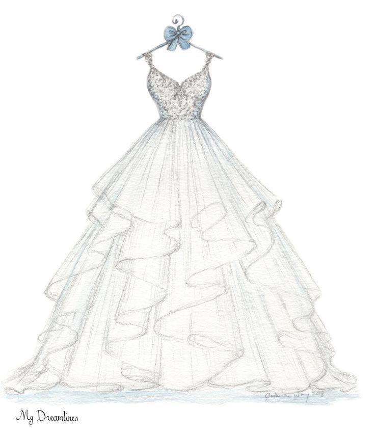 Was ist das beste Geschenk für sie? Ihr Hochzeitskleid skizziert und Ihr Anzug. Perfekt…