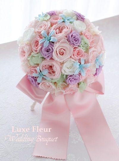 パステルカラーのラウンドブーケ プリザーブドフラワーで |Luxe Fleur Diary~プリザーブドフラワーとアーティフィシャルフラワーのブライダルブーケのショップ