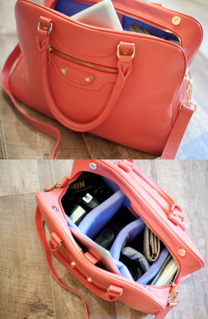Handbag Camera bag! Cannot wait to get one of these camera bags!! Real leather Camera hanbag for photographers. SLR lenses and body kept safe with padding! So pretty in coral.