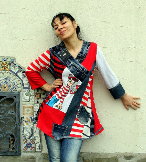 Crazy sailor striped recycled denim jeans dress tunic top.