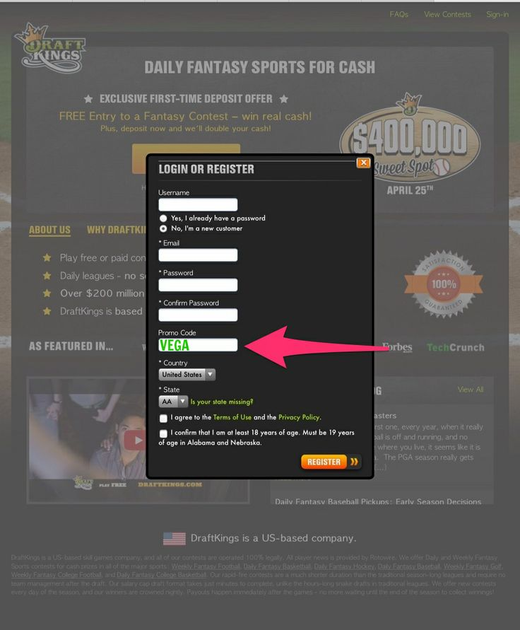 """The best DraftKings Promo Code is """"VEGA"""" in order to receive the best available free cash bonus. http://www.promocodekings.com/"""
