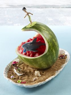 Watermelon carving - surf wave tutorial