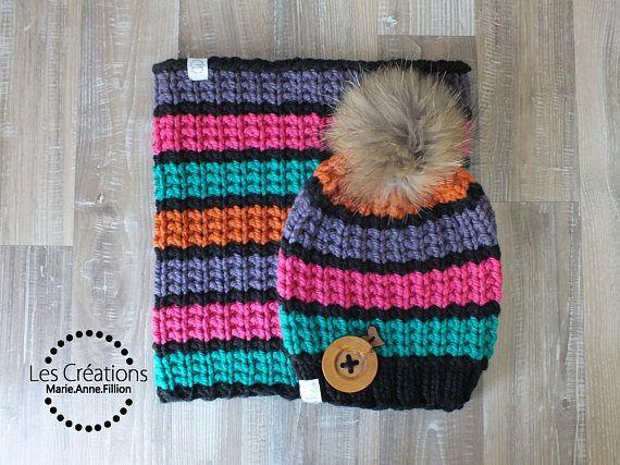 5f7e8414ac1 Tuque slouchy et snood pour femme avec pompon de fourrure amovible  Fait  main avec de la laine acrylique super douce et chaude  Parfait pour  l hiver ...