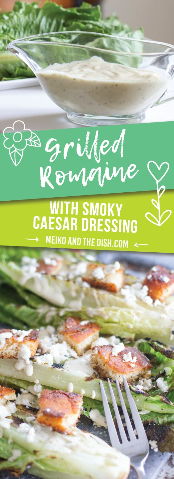 Grilled Romaine with Smoky Caesar Dressing - Crispy grilled romaine drizzled with a homemade smoky Caesar dressing totally elevates the traditional Caesar salad. Top with crumbled goat cheese and cornbread croutons and you have an instant winner.