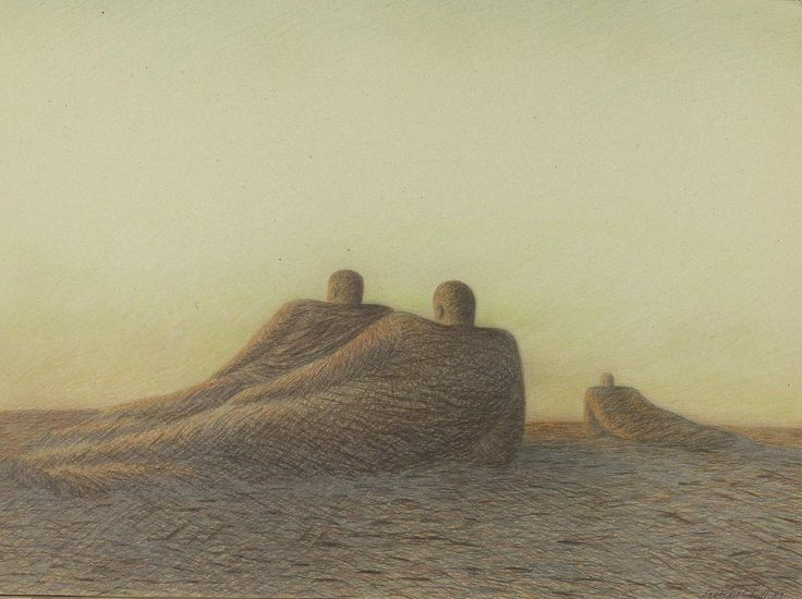 """Garif Basyrov - In the Field (1989) From the series """"Inhabited Landscapes"""". Colored pencil on toned cardboard, 67x90 cm"""