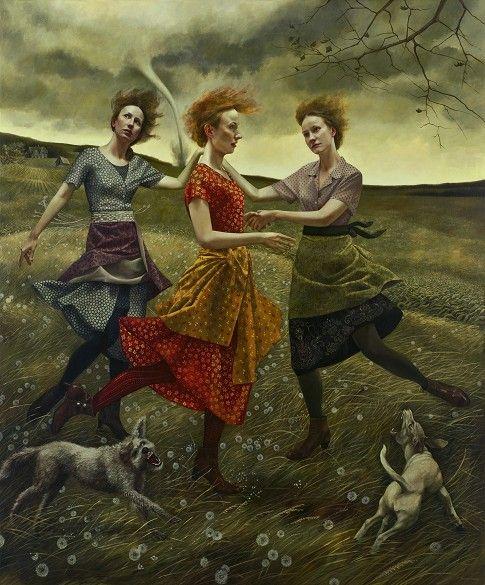 andrea kowch painting art Danser malgré la tempête...