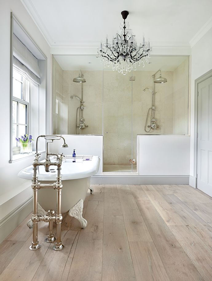 Five-bedroom Georgian farmhouse in the Cotswolds. Beautiful bathroom with roll top bath. If you like this pin, why not head on over to get similar inspiration and join our FREE home design resource library at http://www.TheHomeDesignSchool.com/signup