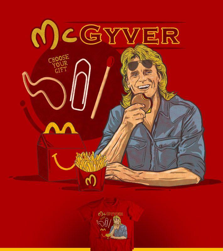 Estampa 'Mc Gyver' no Camiseteria.com. Autoria de Fernando Degrossi http://cami.st/d/66824