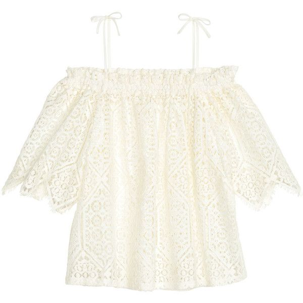 H&M Off shoulder -pitsipusero 19,99 ($50) ❤ liked on Polyvore featuring tops, h&m tops, white off the shoulder top, off the shoulder tops, white off shoulder top and off shoulder tops
