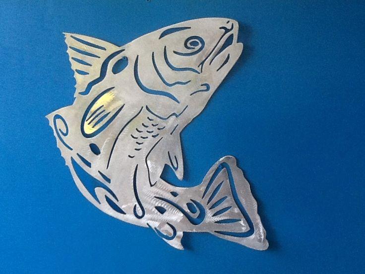 Tribal redfish  aluminum gamefish sculpture.