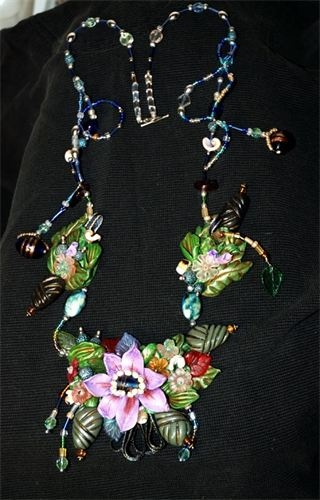 Floral Fantasy art necklace polymer clay, beads, bits & pieces of things, can be worn or displayed (comes mounted in a shadow box)