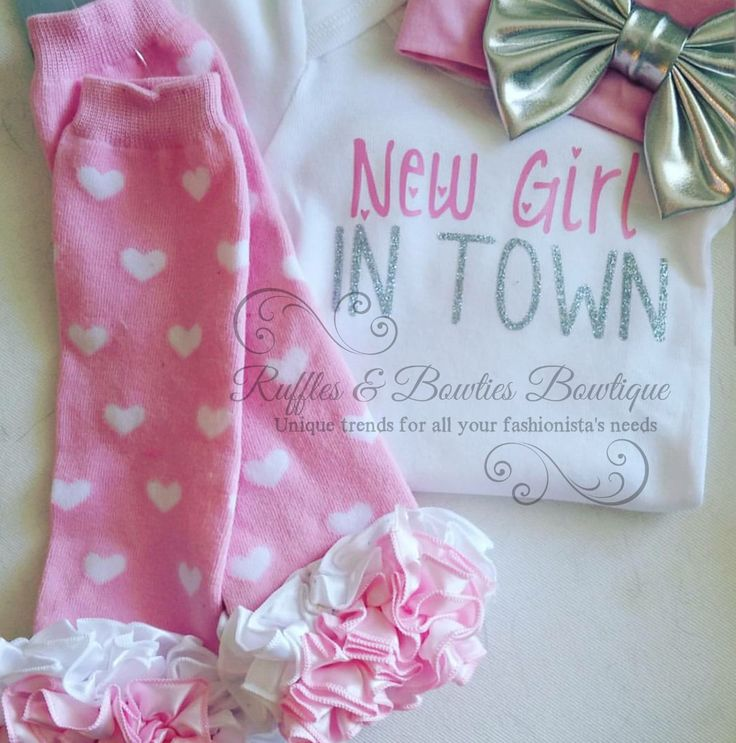 New Girl In Town Infant Glitter Onesie - Coming Home From Hospital Outfit - Brand New Baby Girl