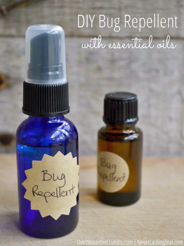Just in time for camping season! Make your own bug spray with essential oils. This homemade bug repellent works for mosquitoes, gnats, flies and ticks depending on what oils you have! Easy DIY for the whole family, much more affordable and non-toxic for kids! :: DontWastetheCrumbs.com