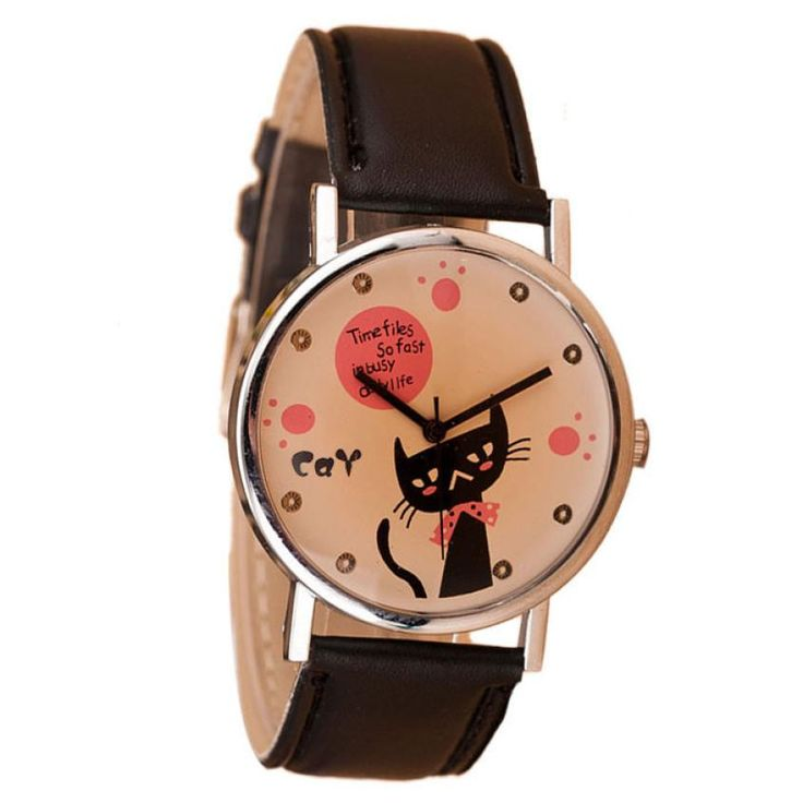 $0.56 (Buy here: http://appdeal.ru/3qdm ) Creative Students Watch Women Casual Pointer Dial Lovely Cat PU Leather Band Quartz Watch Girl bayan kol saati  relogio feminino for just $0.56