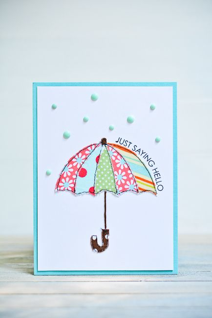 Appliqué Umbrella Card /Handmade Card / Rain Themed Card