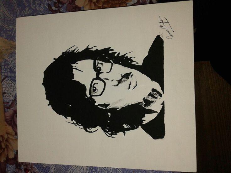 Charli Garcia.. grande del rock argentino. . Pintado a mano