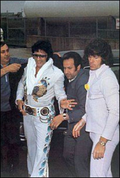 Elvis with some of the Memphis Mafia bodyguards - Joe Esposito is next to Elvis