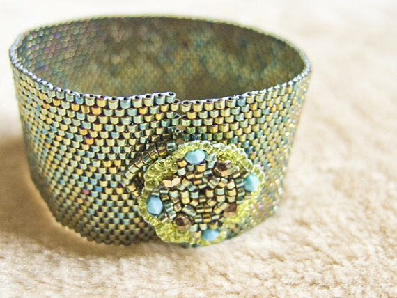 Beaded Metallic Green Cuff Bracelet with Beaded Flower Motif Button