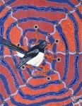 "Artist: 		KROCETTE    Title: 		""Willie Wagtail""  	  		This little bird in known as ""chittichitti"", the messenger of good or bad news by the Indigenous peoples, when see around their camps.    Medium:	Acrylic on Canvas    Price: 		$590    Size: 	355 x 280mm    Signed: 		KROCETTE 2012  Kidogo Art Institute - Gallery"