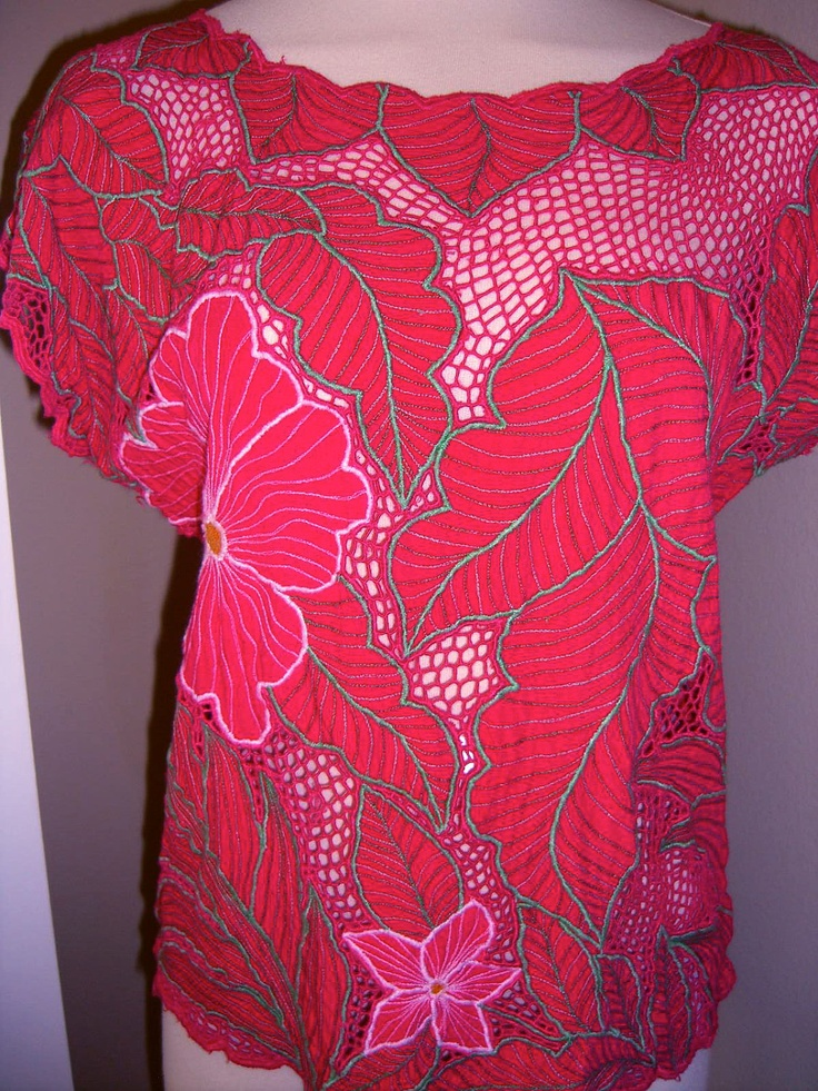 pink flowers + red [Bali cutwork shirt]