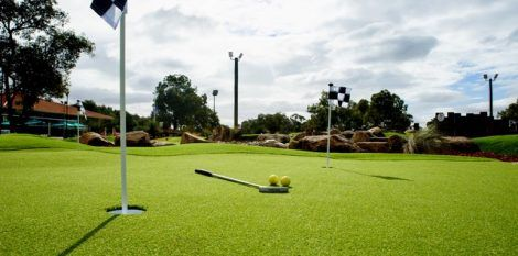 When building a mini golf course we use artificial grass specially designed for putting greens