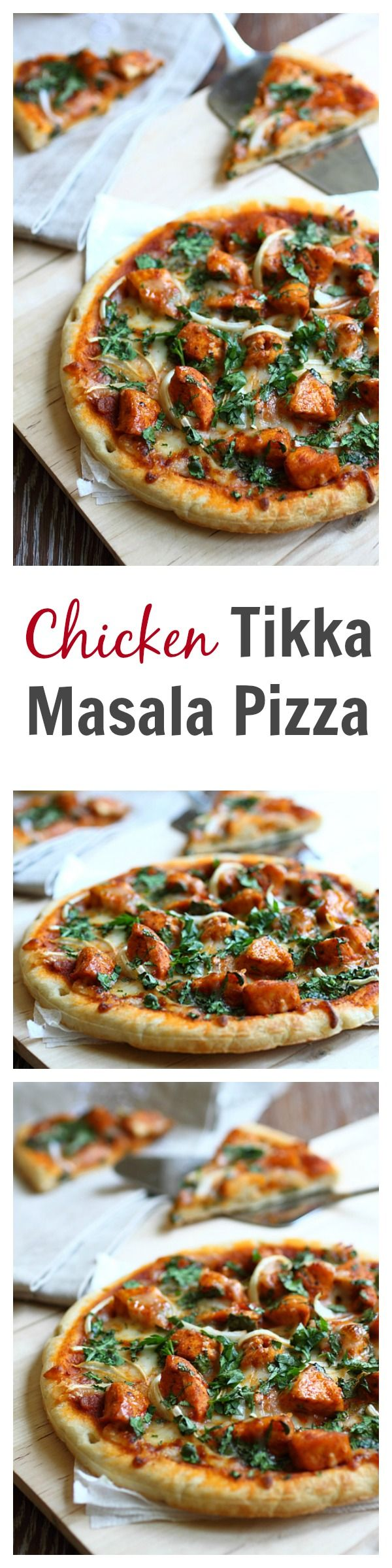 Chicken tikka masala pizza recipe. This pizza is SO good with spicy and creamy tikka masla chicken. Learn how to make it | rasamalaysia.com