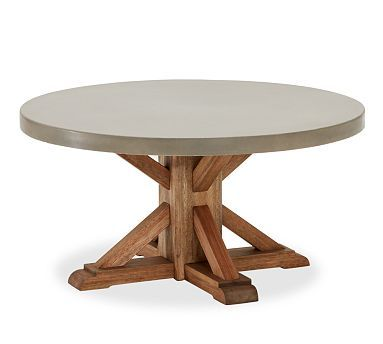 "Abbott Concrete Top Round Coffee Table #potterybarn $900 36"" diameter x 18"" high"