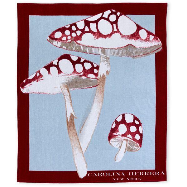 Carolina Herrera Red Mushroom Print Oversized Beach Towel ($100) ❤ liked on Polyvore featuring home, bed & bath, bath, beach towels, red, oversized beach towels, carolina herrera and red beach towel