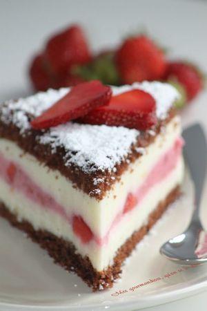 Gâteau fromage blanc et fraises