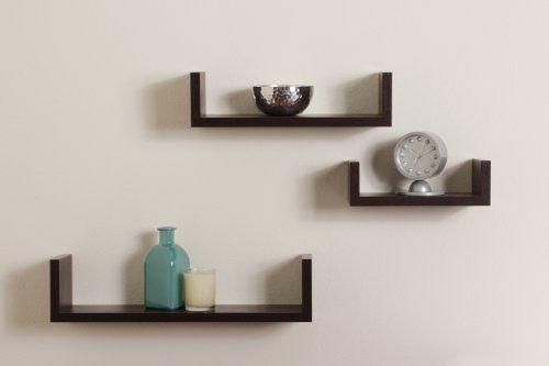 Amazon.com: Danya B XF11039 Set Of 3 Floating U Shelves Finish, Walnut:  Home U0026 Kitchen
