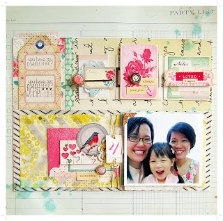 Scrapbook layout using the blocking technique. Grouping blocks into irregular sections and allowing each section to be individually assembled allow the layout to look cohesive